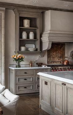 Mark Cristofalo. Beautiful grey timber cabinetry paired with marble counters. Country Kitchen Designs, French Country Kitchens, Modern Farmhouse Kitchens, Home Kitchens, Rustic Farmhouse, Kitchen Modern, Kitchen Country, Kitchen Grey, Farmhouse Style