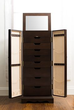 Hives And Honey Jewelry Armoire For Pretty Home Interior: Espresso Jewelry Armoire Cheval Mirror And White Base Board For Impressive Home Interior
