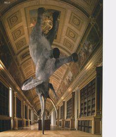 Daniel Firman, Würsa km above the Earth, Elephant sculpture/taxidermy, 570 x 250 x 140 cm, View at the Chateau de Fontainebleau Robin Wight, Elephant Sculpture, Book Sculpture, Elephant Art, Art Sculptures, Contemporary Sculpture, Contemporary Art, Fiona Banner, Creation Art