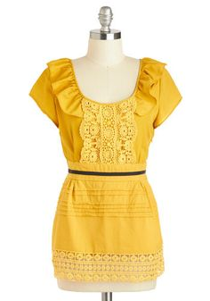 Motown Frilly Top - Cotton, Mid-length, Yellow, Black, Crochet, Lace, Ruffles, Short Sleeves, Vintage Inspired, French / Victorian, Summer