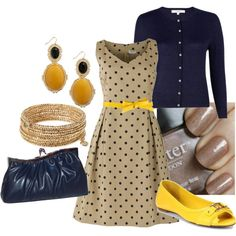 Polka Dot Dress with Navy and Yellow :)