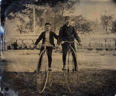 July 29, 1892.  Two gentlemen on 'Penny Farthing' or 'High Wheeler' bikes.  9015-003-001 #14010p.  Delaware Public Archives.  www.archives.delaware.gov