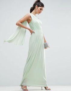 ASOS Lace Insert Sash One Shoulder Maxi Dress