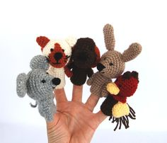 crocheted pet finger puppets, tiny mouse, cat, dog, bunny, hen, set of 5 miniature amigurumi, waldorf style fairy tale play, woodland autumn.