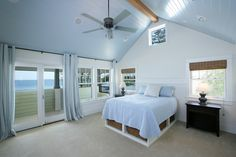 Bedroom, complete with a high walled patio to give privacy in the bedroom and storage baskets under the bed.