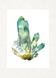 Flourite Cluster   5 x 7 Watercolor Art Print by songdancedesign