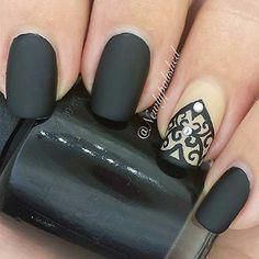 Black Matte Nails + Lace Accent Nail