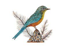 Silver Bird Print Art Print Nature Leaf Blue Bird by MenisArt