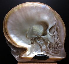 Beautiful Carved and Painted Skull Art in Mother of Pearl
