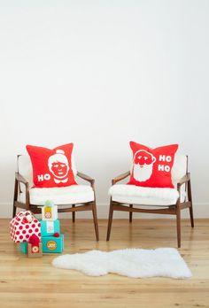 DIY Mr. and Mrs. HO HO HO pillows A Hip Handmade Holiday