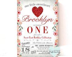 Valentine Birthday Invitation Little Sweetheart Invitation
