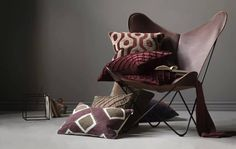 New work for Chhatwal & Jonsson Cushion Inspiration, Velvet Cushions, Butterfly Chair, Cushion Covers, New Work, Color Schemes, Bed Pillows, Living Room, Interior Design