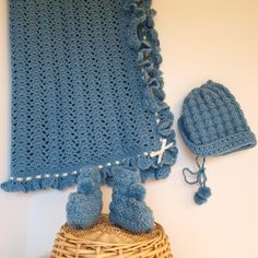 Hand Crocheted Baby Afghan Hat and Booties by NancysWorkshop