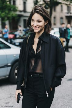 Simple sheer blouse and bomber jacket. Milan #MariaDuenasJacobs