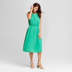 Women's Pleated Dress - Merona Tumble Green Xxl