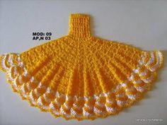 riscos de bonecas para pano de prato com vestido de croche_Pesquisa do Baidu