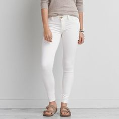 AE Denim X Jegging ($21) ❤ liked on Polyvore featuring pants, leggings, white, white leggings, white trousers, american eagle outfitters, legging pants and denim pants