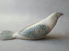 White Dove  Porcelain Clay Bird Sculpture by Iktomi on Etsy
