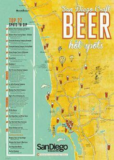 Beer lovers map of San Diego