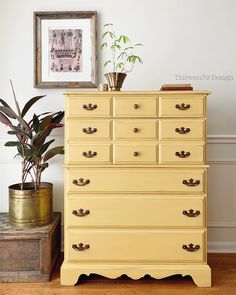 Goldenrod and Beeswax will make even the darkest days bright ☀️  📸:   Thirteen79 Design & Home Staging  www.wiseowlpaint.com #wiseowlpaint #goldenrod #beeswax #painted #furniture #dresser