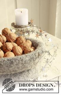 "Felted DROPS Christmas basket in ""Eskimo"". ~ DROPS Design"