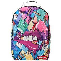 Sprayground Women Popsicles Printed Backpack ($90) ❤ liked on Polyvore featuring bags, backpacks, accessories, multicolor, backpack bags, day pack backpack, colorful bags, rucksack bag and knapsack bag