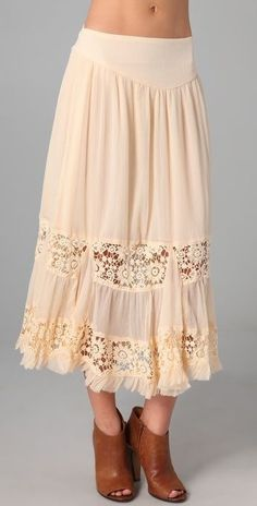 Free People Lace Therapy Tiered Midi Skirt BOHO Chiffon Crochet NWT $168 Sz S #FreePeople #Tiered