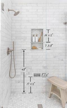 Bathroom Renos, Bathroom Remodeling, Bathroom Niche, Budget Bathroom, Niche In Shower, Bathroom Fixtures, Bathroom Subway Tiles, Remodeling Ideas, Tile For Small Bathroom