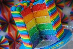 Rainbow layers inside a white cake