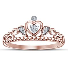 14k Rose Gold Gp .925 Round Cut White Sim Diamond Heart Crown Engagement Ring in Jewelry & Watches, Engagement & Wedding, Engagement Rings | eBay