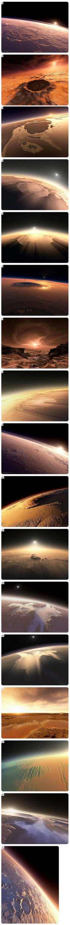 Mars is a terrestrial planet with a thin atmosphere, having surface features reminiscent both of the impact craters of the Moon and the volcanoes, valleys, deserts, and polar ice caps of Earth. Here is what a sunrise would look like on The Red Planet.