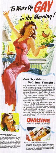 Ovaltine - Gay in the morning? I drank my Ovaltine to have strong bones. Vintage Humor, Funny Vintage Ads, Posters Vintage, Funny Ads, Vintage Prints, Retro Vintage, Hilarious, Vintage Menu, Vintage Tools