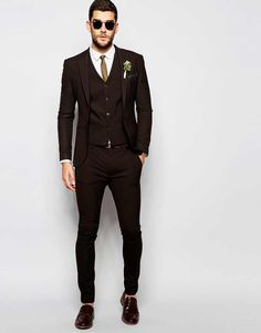 Image 1 of ASOS Wedding Super Skinny Suit in Brown
