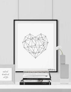 Geometric Heart poster print Printable Art by ArtFilesVicky