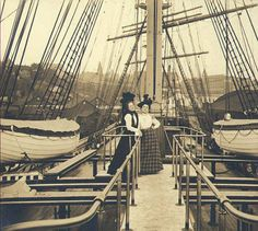 Two women on the deck of an unidentified sailing vessel, Seattle, Washington, 1902. :: Wilhelm Hester Photographs