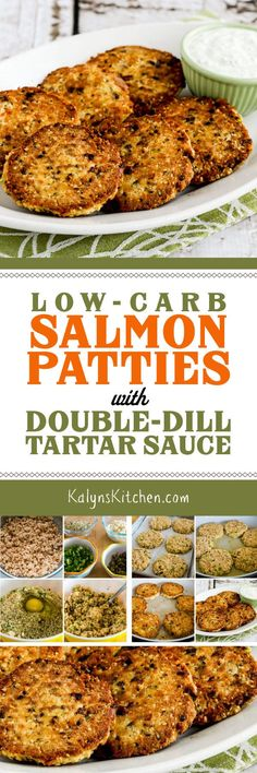 Low-Carb Salmon Patties with Double-Dill Tartar Sauce are an inexpensive pantry meal and this updated recipe is low-carb, Keto, low-glycemic, gluten-free, and South Beach Diet friendly! And these Low-Carb Salmon Patties are delicious! [found on KalynsKitchen.com] #SalmonPatties #LowCarbSalmonPatties #KetoSalmonPatties #GlutenFreeSalmonPatties