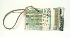 Small wristlet clutch / Seafoam and gold by GirlGeniusGoods