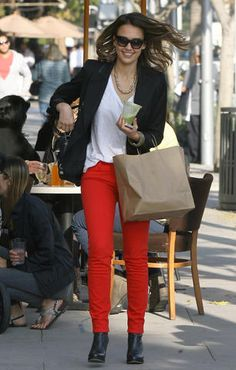 Love the red skinny jeans <3