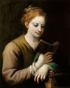 St Catherine Reading Antonio Allegri Correggio (Italian, Oil on canvas. The Royal Collection. Vasari singled out the lovely colour and exquisite finish of Correggio's painting. Reading Art, Woman Reading, Reading Books, Italian Renaissance, Renaissance Art, St Catherine Of Alexandria, Royal Collection Trust, Canvas Art Prints, Female Art