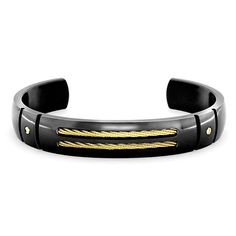 Midnight Black Titanium with 14K Yellow Gold Mens Cuff Bracelet #Titanium #Jewelry