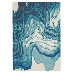 Bring eye-catching appeal to your living room or master suite with this contemporary-chic rug, showcasing an abstract agate-inspired motif in an Atlantic-hue...