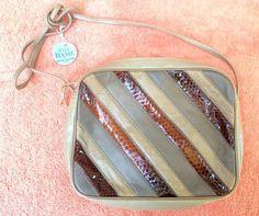 VTG Dame David Mehler Purse Shoulder Bag Leather Snakeskin Patchwork Brown Gray #DamebyDavidMehler #ShoulderBag