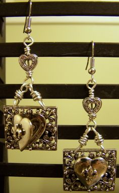 FEB CHALLENGE- Wire wrapped Heart Locket Earrings http://www.facebook.com/pages/Jewelry-Junkie-Donnas-Handmade-Jewelry/296885666994097