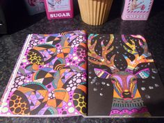 Book - The Neon Colouring Book. Media - Neon,metallic and glitter gel pens and flower sequins.