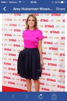 Amy huberman at premiere of the stag! Her pleated skirt is amazing.