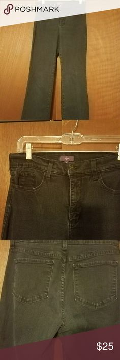 Not Your Daughters Jeans (NYDJ) Nice pair of Nitra Daughters Jeans very little wear.  I think they are very very dark blue but I've been told that they're black so I'm going to list them is black but I think they look like they're very very dark blue.  Zipper and snap in good condition no where around the bottoms that the Cuffs they look great! Not Your Daughters Jeans Jeans Boot Cut