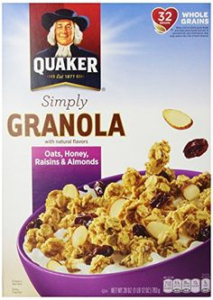 I love this cereal. One bowl fills me up until lunch! Quaker Natural Granola Oats, Honey, Raisins & Almonds Cereal in a 28 oz box. Low in sodium, 0g of trans fat, and good source of fiber.
