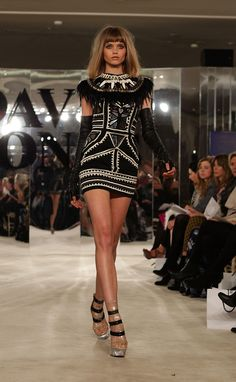 Love the geometric patterns & mirror tiles on this dress, just not a big fan of the feather collar ~ Sass and Bide
