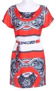 Orange Short Sleeve Bandeau Print Straight Dress