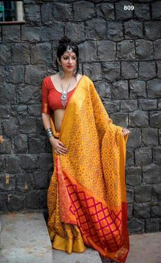 Exclusive Yellow Color Patola Silk Thread Work Traditional Wear Saree Look striking and stunning afler wearing this gorgeous yellow color party wear saree. This gorgeous saree is crafted of patola silk fabric which gives you a rich traditional look. Party Wear Sarees Online, Party Sarees, Wedding Sarees, Patiala Salwar, Anarkali, Lehenga, Kalamkari Saree, Indian Beauty Saree, Indian Sarees